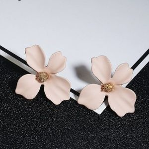 5 for $25 Nude Color Flower Statement Earrings
